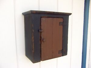 Image Is Loading Primitive Small Wall Hanging Cabinet Cupboard Painted Country