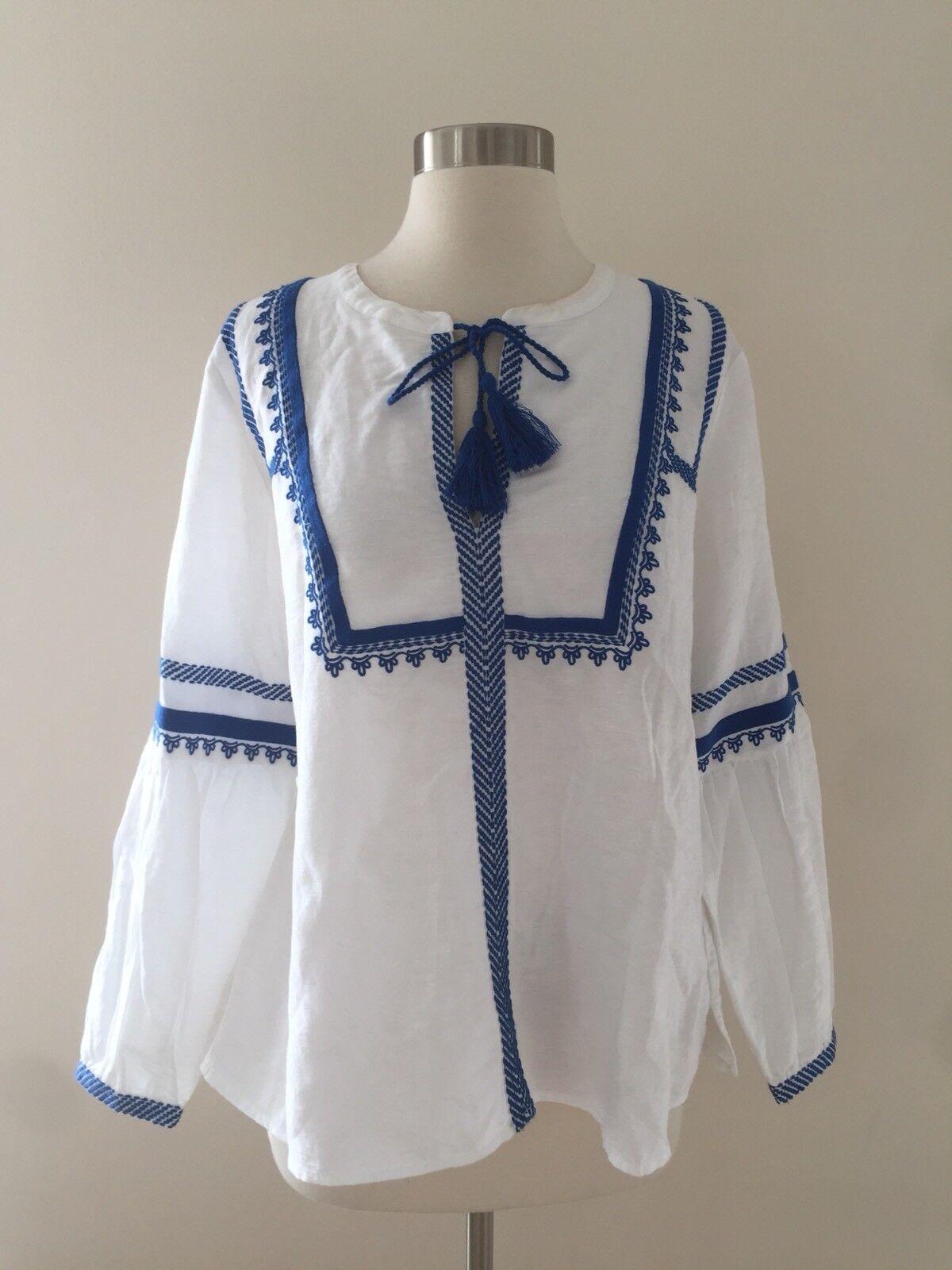 J.Crew Embroiderot linen-cotton top Blouse Weiß Blau Sz 12 G5461