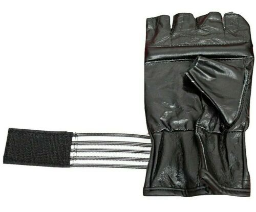 Pure Cowhide Leather Brown Fingerless Bag Gloves for Kids and Adults