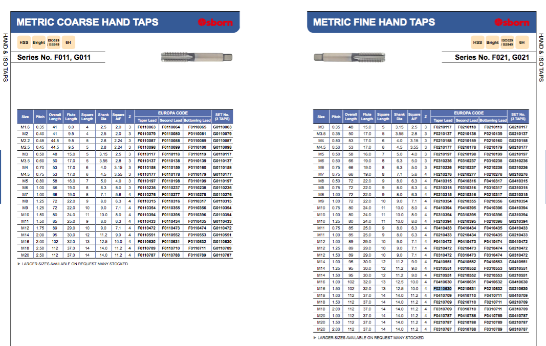 M16 x 1.5 METRIC FINE HAND TAP HSS FIRST TAPER EUROPA TOOL OSBORN F0210630  P115