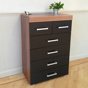 Chest-of-4-2-Drawers-in-Black-amp-Walnut-Bedroom-Furniture-Modern-6-Drawer-NEW