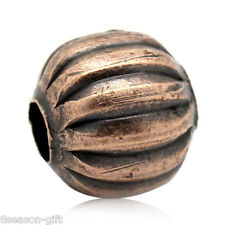 100PCs Gift Spacer Beads Striped Pumpkin Round Copper Tone 8mmx8mm