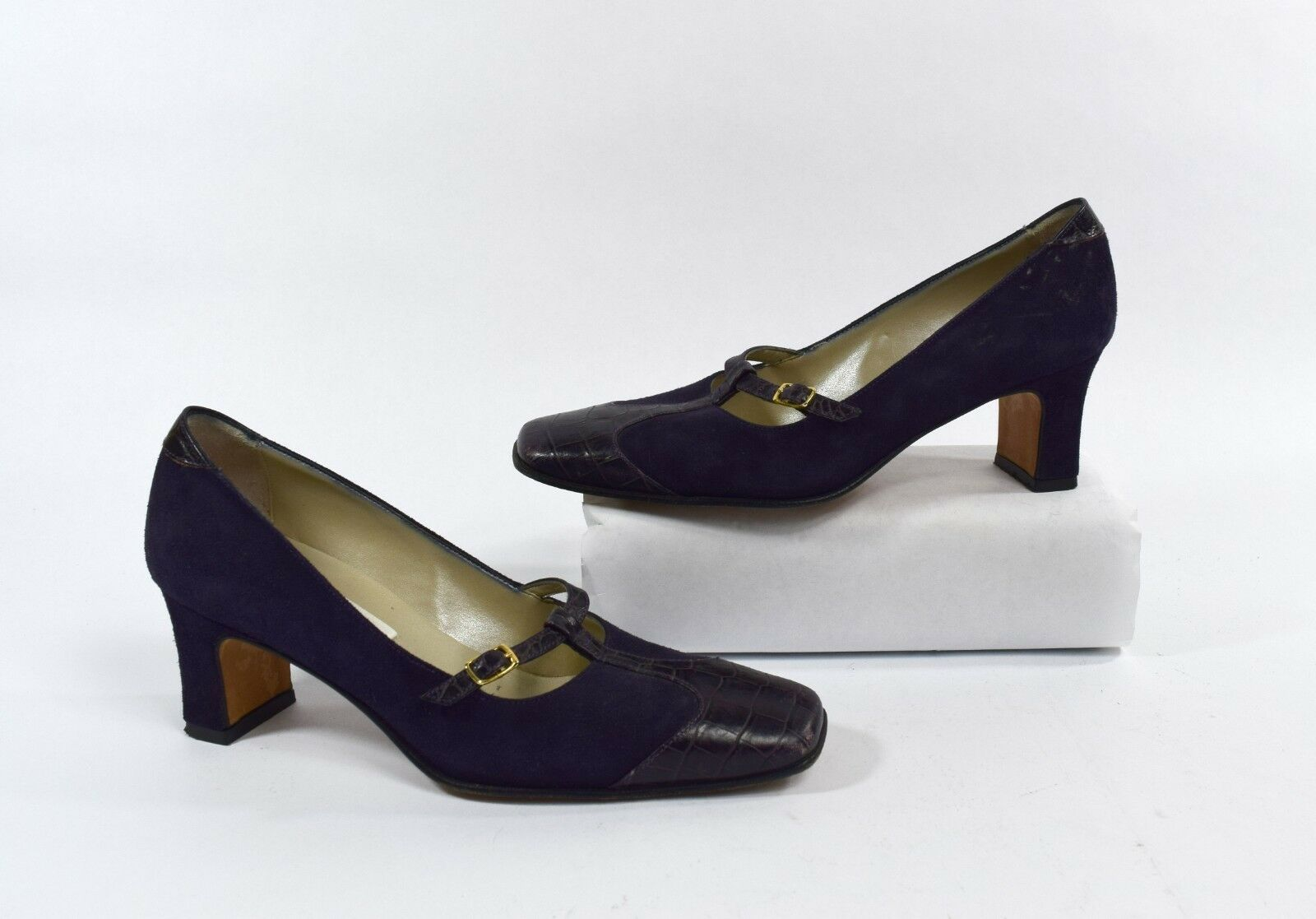Talbots Vintage 80s Purple Leather T-strap Pump Heels Size 5M Made in Italy