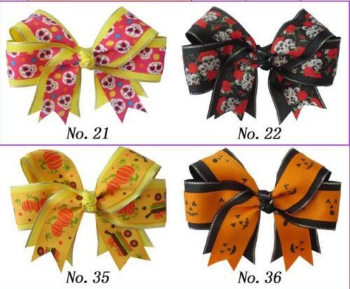 "100 BLESSING Happy Girl 4.5/"" Halloween Cheer Hair Bow Clip Snowman Santa Snow"
