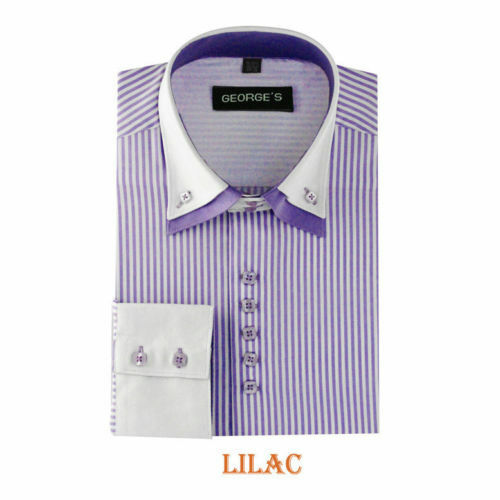 Men/'s dress shirt double layered collar,square button,striped two tone style#606