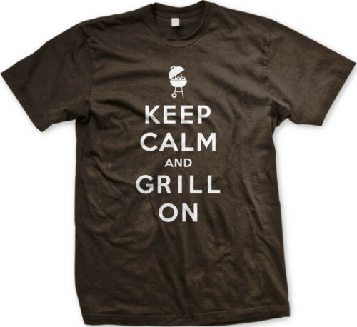 Keep Calm and Grill On Master BBQ Bar-B-Que Charcoal Propane Mens T-shirt