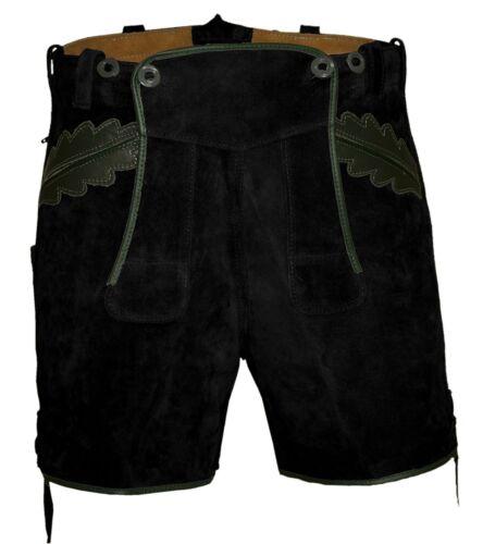 corti Eicherlaub Mir Pantaloni Trachtenlederhose Black pelle in dIIRXx