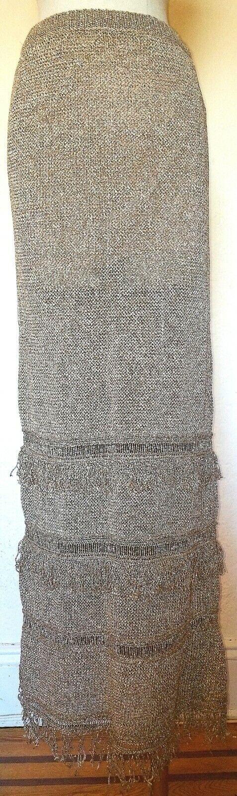Rachel Zoe Brown Knit Fringe Maxi Skirt Size XS
