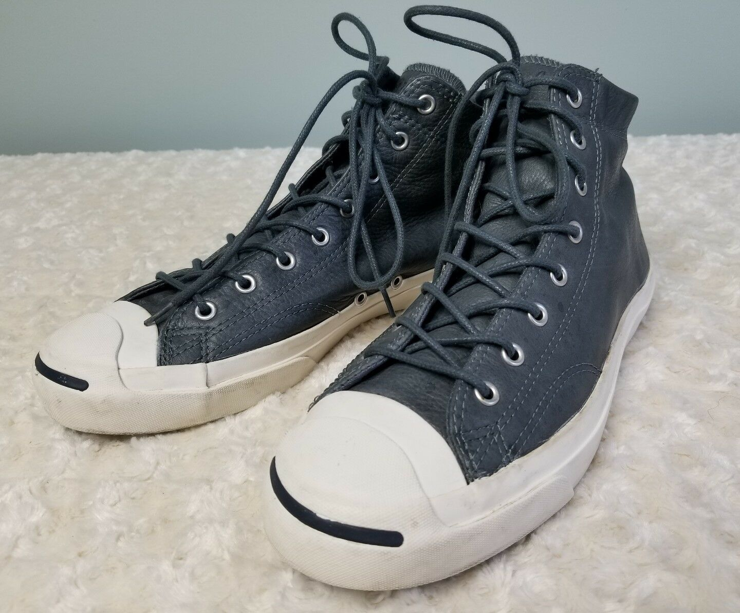Mens Signature 11 Converse Jack Purcell Signature Mens Hi Gray White Leather 7a3391