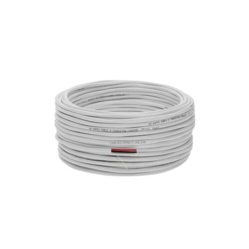 50ft 100ft 250ft 500ft White 16awg Cl2 Speaker Wire Cable Audio 16//2 For In Wall