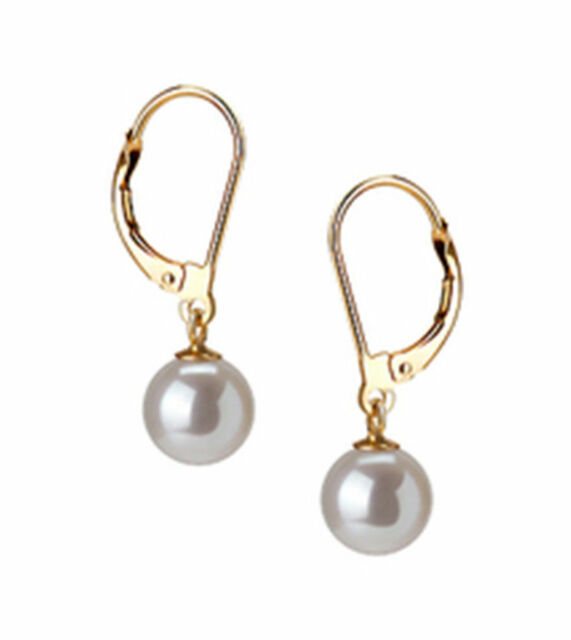 Fashion Women's 10mm Natural White Shell Pearl Rose Gold Plated Dangle Earring