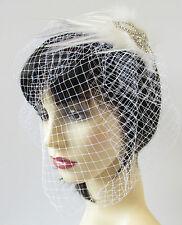Ivory White Silver Birdcage Veil Headband Fascinator Bridal Pearl Vintage S68