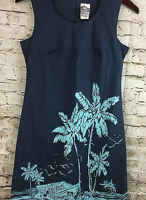 Disney Store Tiki Kingdom Sleeveless Dress Sz 4 Navy Blue Midkey Hawaiian Shift