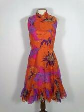 Vintage 1960s Mod Floral Dress M L Ruffles Orange Poppies Chiffon Sleeveless 60s