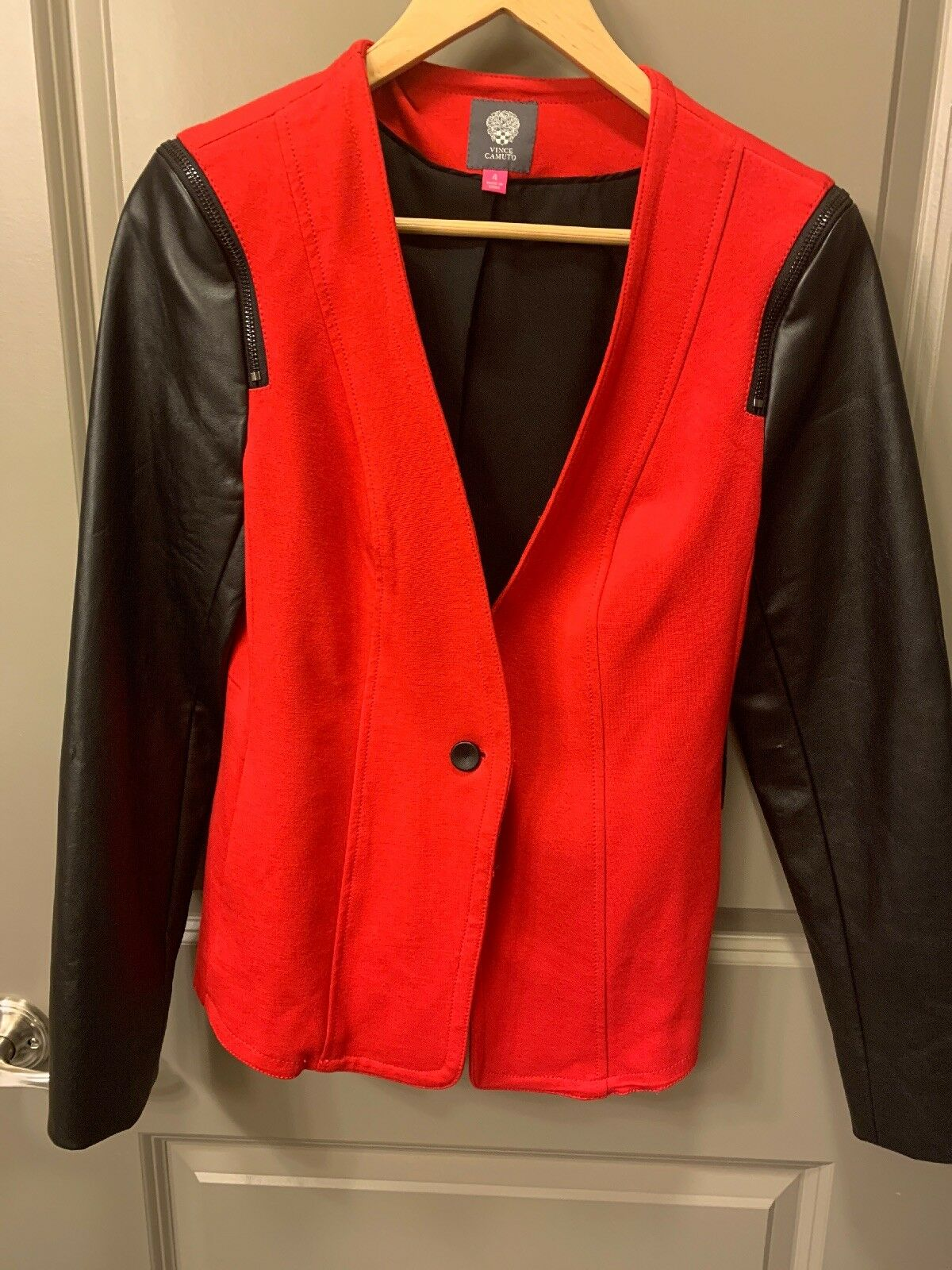 NWT Vince Camuto Red Blazer With Faux Leather Arms Size Small 4 Retails