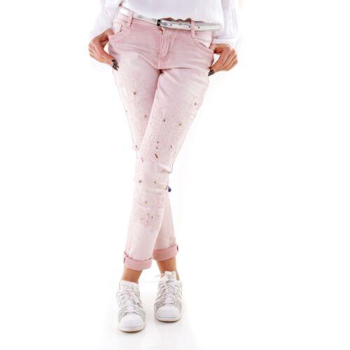 Donna Glam jeans attillati rosa chiaro con gambe ricamato e borchie UK 8-16