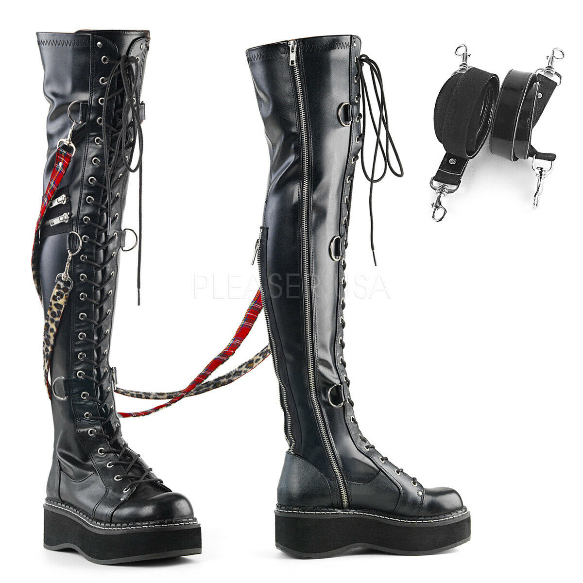 EMILY-377 BIKER GOTH BONDAGE STRETCH INTERCHANGEABLE  STRAP WEDGE KNEE HIGH BOOT