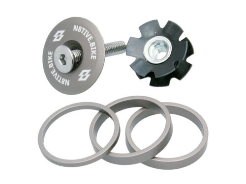 N 8 attrayants Spacer Kit incl Ahead Capuchon-Gris alpin MTB Potence distance vitre
