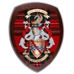 Scottish-Made-Royal-Stewart-Clan-Tartan-Woodcarver-Coat-of-Arms-Dark-Wood-10x12