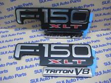 Ford F-150 XLT Triton V8 Chrome-Black-Red Fender Emblem  OEM  Set of 2