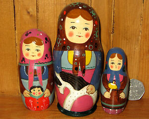 DéVoué Nidification Poupée Russe Matryoshka Petit 3 Peint à La Main Traditionnelle Artiste Ryabova-afficher Le Titre D'origine