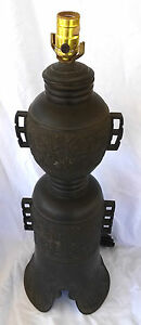 Fine-Early-Antique-Chinese-Bronze-Converted-Large-Table-Lamp-26-034-Excellent