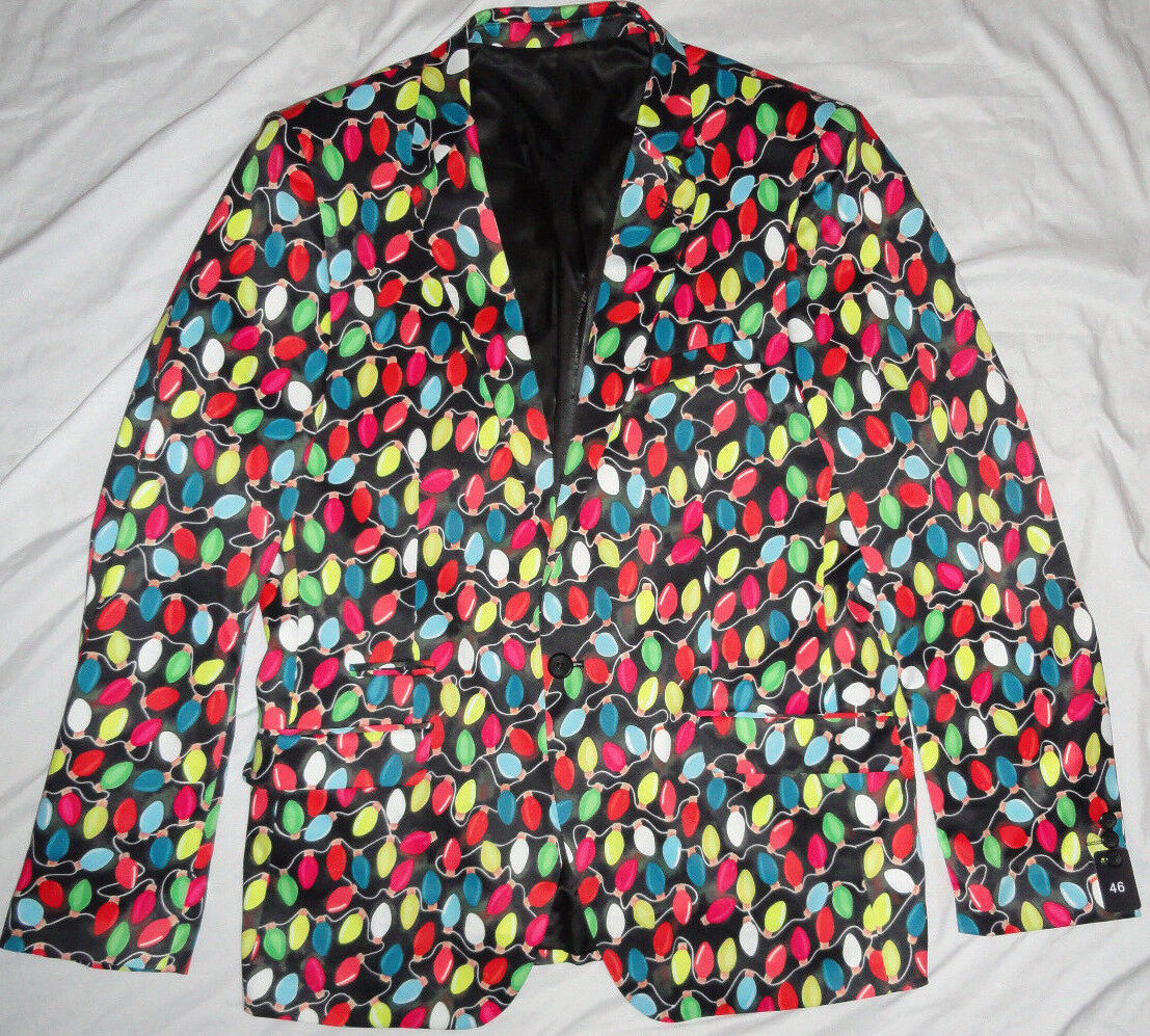 NEW  Christmas Suslo Couture Blazer Slim Fit Sport Coat Holiday Lights NWT