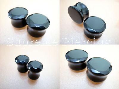 Multiple Size Round Cut Natural Black Agate Stone Saddle Double Flare Ear Plugs