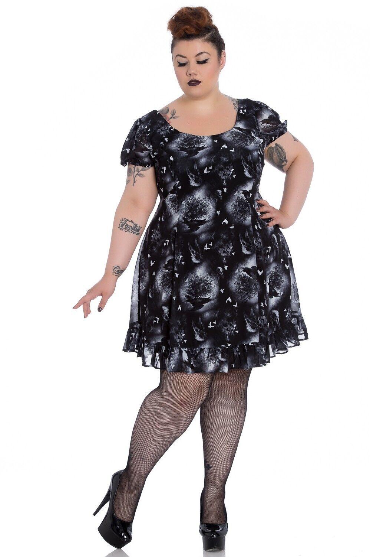 Spin Doctor Alchemy Plus Plus Plus Size Ash Crow Skull Halloween Goth Mini Dress 1X 2X 3X 9756c5