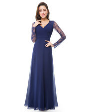 UK Women Long Sleeve Prom Lace Evening Bridesmaid