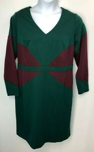 GILI-Womens-Green-Maroon-Colorblock-Ponte-Knit-Dress-Size-20W-QVC-A235235
