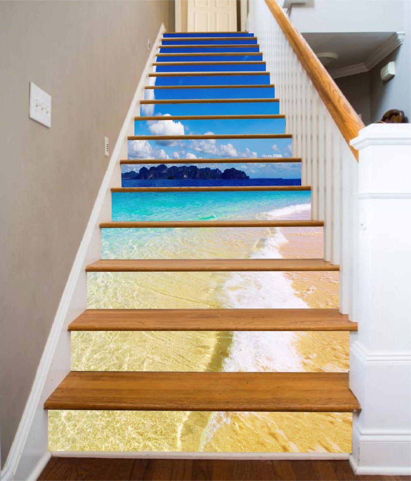 3D Beautiful Sea 21 Stair Risers Decoration Photo Mural Vinyl Decal Wallpaper UK