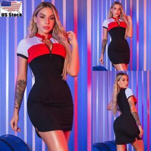 Women's Short Sleeve Bodycon Mini Dress Ladies Evening Party Clubwear Dresses