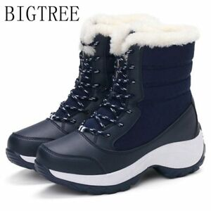 c8f679c99 BIGTREE New Women Winter Snow Boots Shoes Fur Lined Warm Lace Up ...
