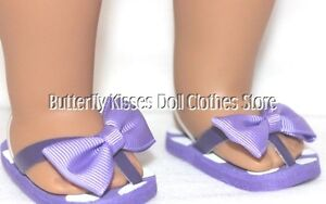 Flip-Flops-Purple-Polka-Dot-Bow-18-in-Doll-Clothes-Fits-American-Girl