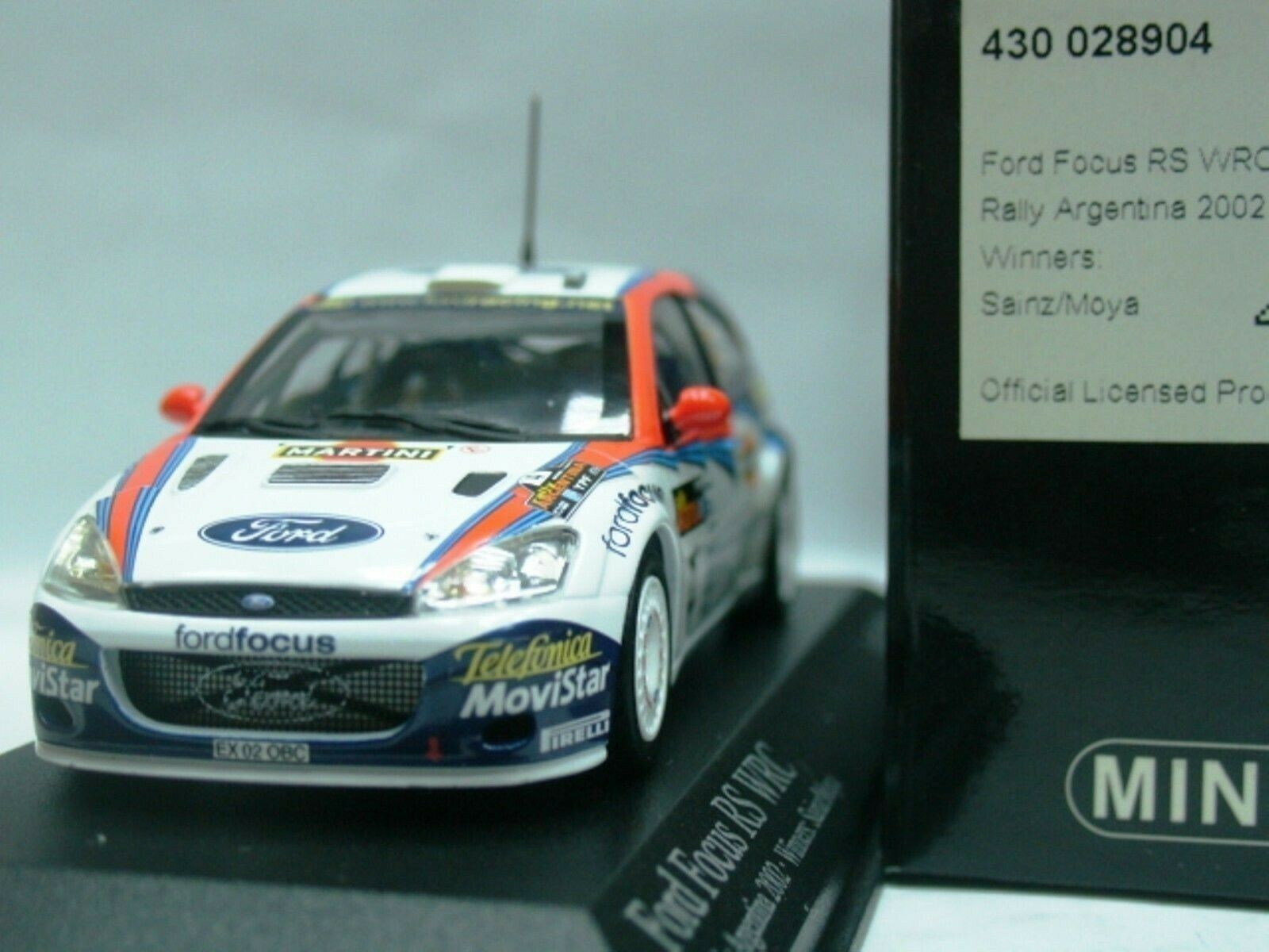 Wow extrêmement rare FORD FOCUS RS WRC 2002  4 Sainz 1st Argentine 1 43 Minichamps
