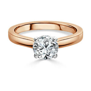 2.00 Ct Round Solitaire Moissanite Anniversary Ring 14K Solid Rose Gold Size 9