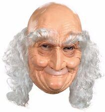 Latex Old Man Mask Bald Head Costume Wrinkled Skin Long White Hair Adult Mens