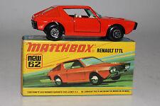 MATCHBOX SUPERFAST #62 RENAULT 17TL, RED, GREEN WINDOWS, BLACK BASE, BOXED LOT D