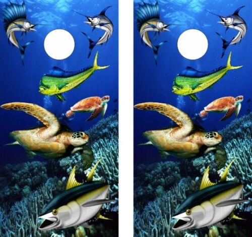 Vinyl Cornhole Skin Wraps Mahi Mahi Sea Turtle Sailfish Yellowfin Ocean Beach