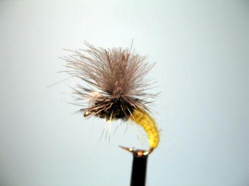 14 12 3 x CDC jaune mini klinkhammers Dry Truite Mouches Tailles 10 16