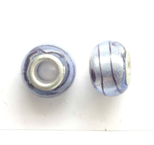10 Blue Silver Foiled Lampwork Glass Beads 14x9mm hole 5mm