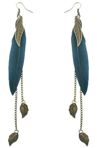F1939 Fashion Turquoise Plume Bronze Chaîne Feuille Lumière Dangle Boucles d/'oreilles Nouveau
