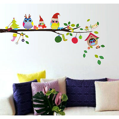 Wall Stickers Wall Decals Merry Christmas Winter Owls Decor