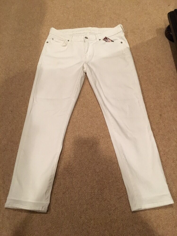 7 FOR ALL MANKIND Weiß Kimmie Crop Jeans Größe 30 Neuf avec étiquettes