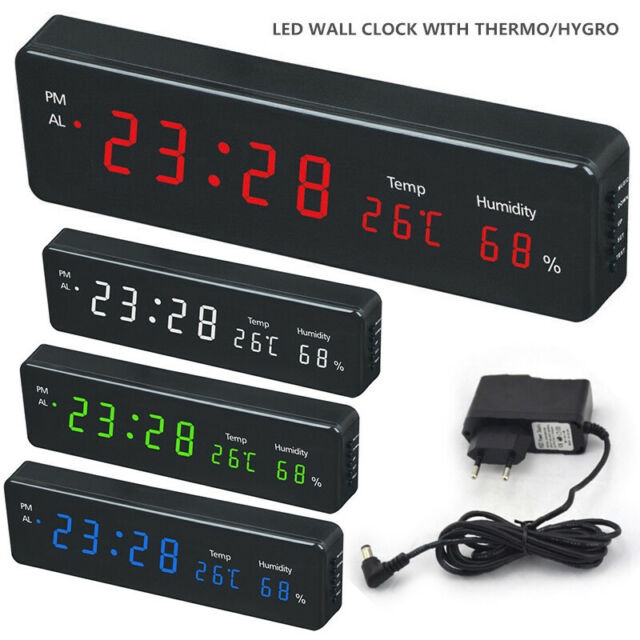 49cm Large Digital LED Time Desk Clock Wall Clocks With Calendar Temperature