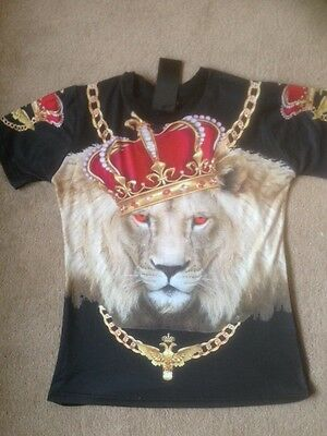 Lion King of the Jungle 3d print Tshirt. Crown Bling Animal style. Gangster T's