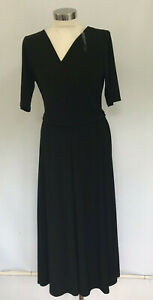 Chaus-New-York-199775-Lisa-Elbow-Sleeves-Tie-Waist-Dress-Black-Medium