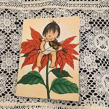 Vintage Greeting Card Christmas Poinsettia Angel Girl Ars Sacra