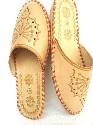 Damen Hausschuhe ,Pantoffeln, Latschen aus Echtleder,Braun, Gr.39,41, NEU